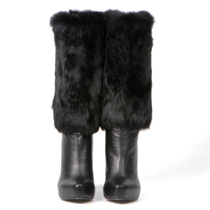 9300 FUR AND LEATHER BOOTS, BLACK