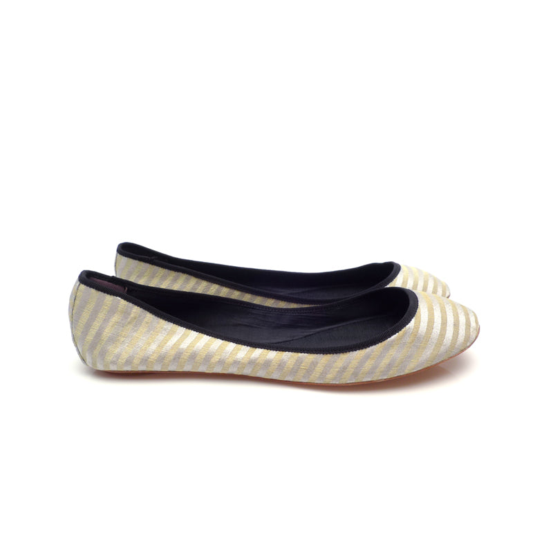 3060B STRIPED SILK FLATS, SILVER MULTI