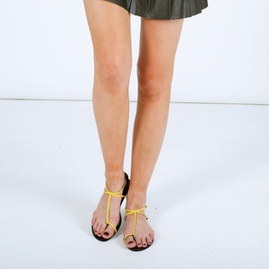 3019 PATENT LEATHER FLAT SANDALS, YELLOW