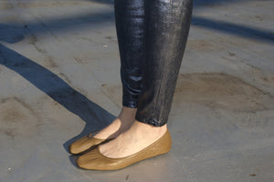 9000C SOFT LEATHER FLATS, MUSTARD