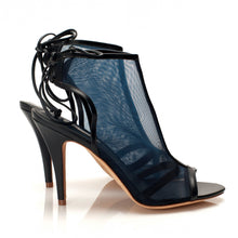 J016 NET AND LEATHER HEELS, NAVY