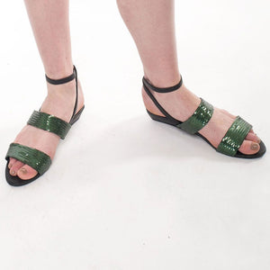 J086 SEQUIN AND LEATHER SANDALS, GREEN/BLACK