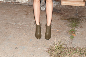 K304 LEATHER WEDGE BOOTS, OLIVE $415