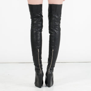 K307 LAMBSKIN OTK WEDGE BOOTS, BLACK
