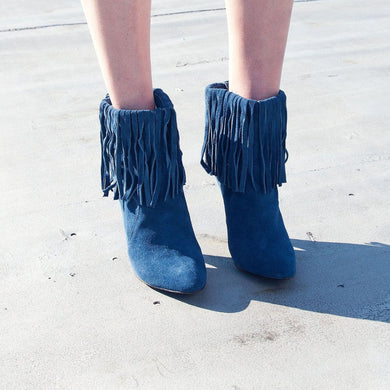 K309 FRINGED SUEDE BOOTS, BLUE