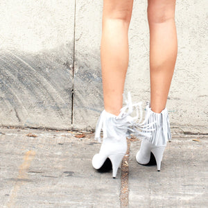 K309 FRINGED SUEDE BOOTS, DUST WHITE