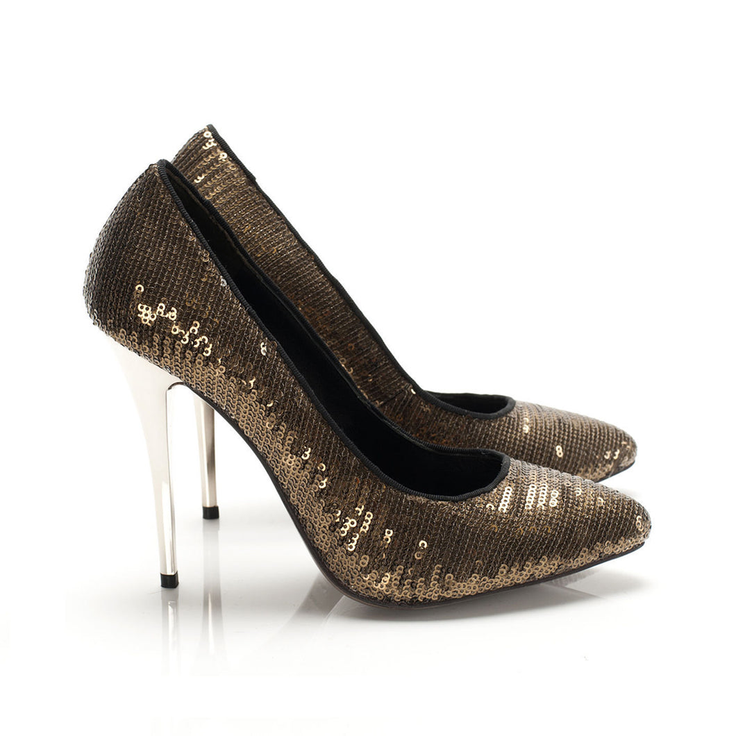 K403 SEQUIN AND LEATHER PUMPS, BRONZE