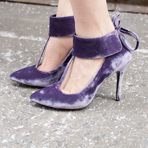 K408 SILK VELVET HEELS, PURPLE