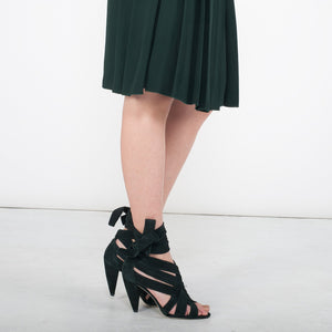 K418 SUEDE STRAPPY HEELS, DARK GREEN