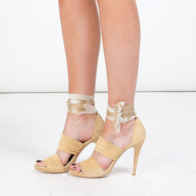 K421 SUEDE AND SILK HEELS, YELLOW MULTI