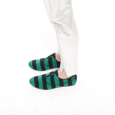 K436 COTTON SLIP-ON SNEAKERS, GREEN/BLACK STRIPE