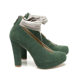 K626 SUEDE HIGH HEEL PUMPS, CACTUS/GREY