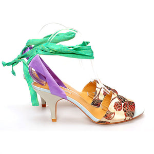 K684 SILK AND LEATHER HEELS, IVORY MULTI