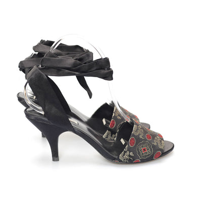 K684 SILK AND LEATHER HEELS, BLACK MULTI