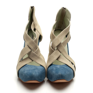 K707 CUT OUT SUEDE HEELS, SPRUCE/SAND