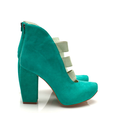 K710 CUT OUT SUEDE HEELS, AQUA/MINT