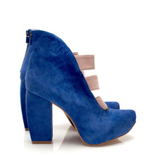 K710 CUT OUT SUEDE HEELS, BLUE/PINK