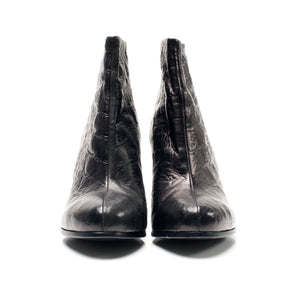 K601B CROC LEATHER ANKLE BOOTS, COAL BLACK