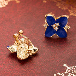Elegant Blue Flower Stud Earrings