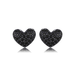 Natural Black Spinel Love Heart Earrings