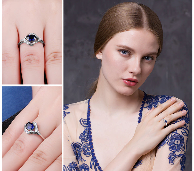 Smart Blue Sapphire Silver Ring