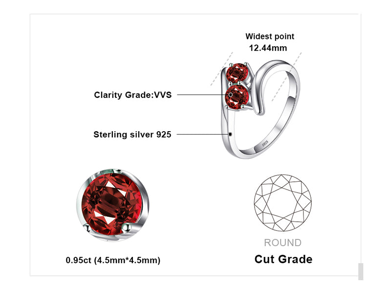 Fashionable Natural Red Garnet Silver Rings