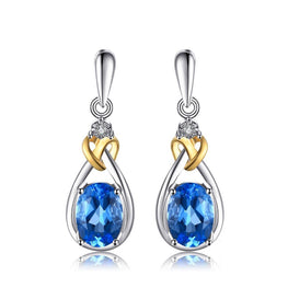 Fashionable Natural Topaz Diamond Earrings