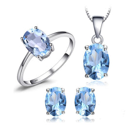 Excellent Natrual Blue Topaz Jewelry Set