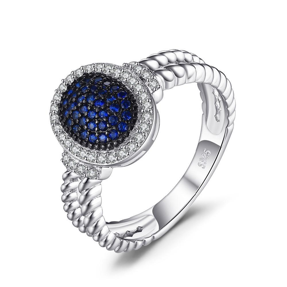 Beautiful Blue Spinel Silver Rings