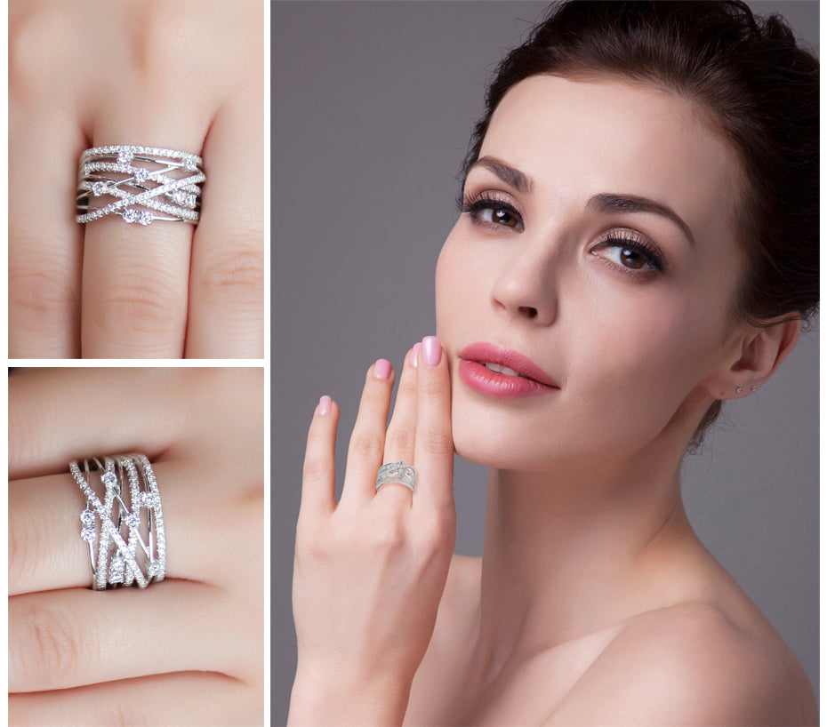 Elegant Wide Silver Band Rings