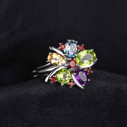 New Multicolored Natural Topaz Rings