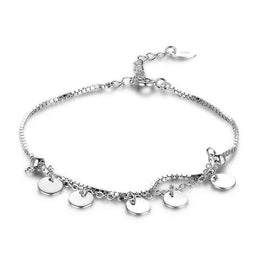 Cute Silver Bracelet With Round Shaped Pendant