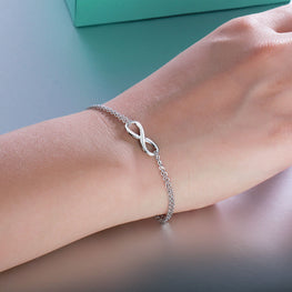 Cute Infinity Shaped Silver Bracelet