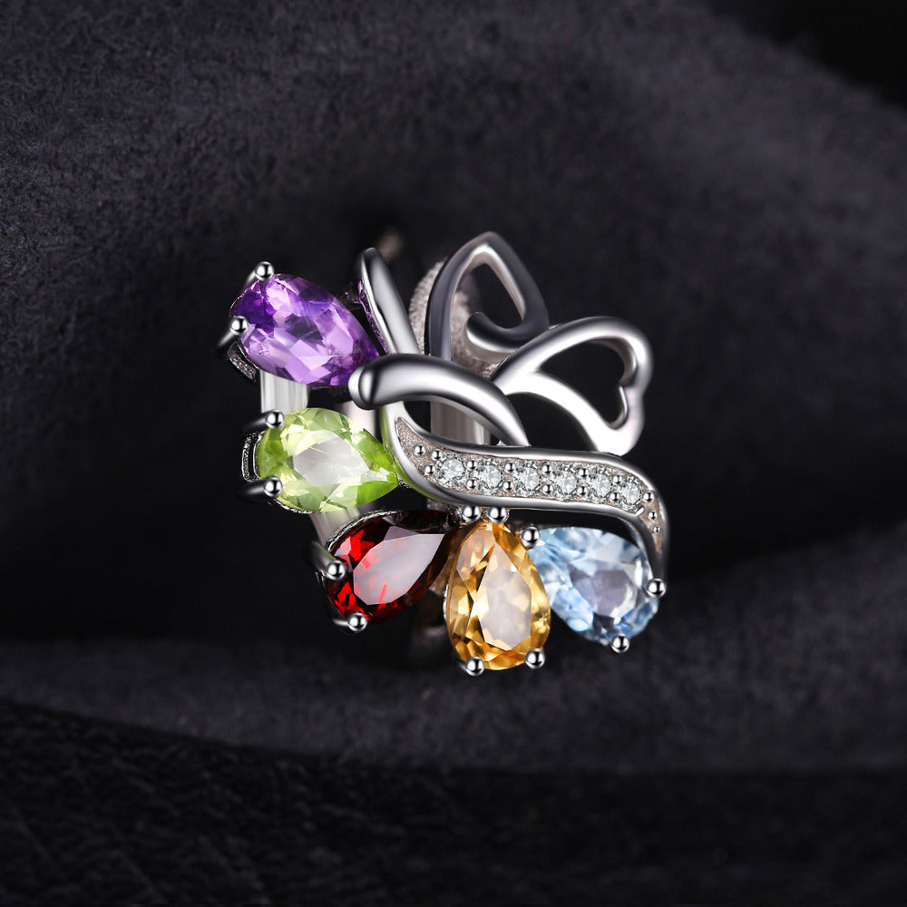Beautiful Multicolored Amethyst Silver Rings