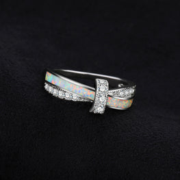 Natural Created Opal Crossover Band Ring