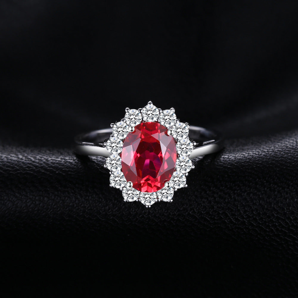 Special Created Red Ruby Silver Rings