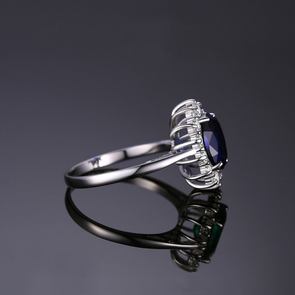 Smart Silver Ring With Created Blue Sapphire