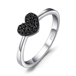 Elegant Natural Black Spinel Love Heart Rings