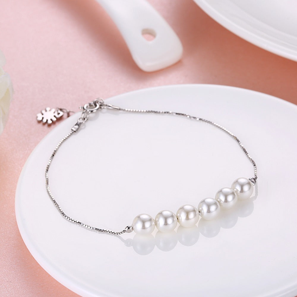 Classic Silver Bracelet With Pearls