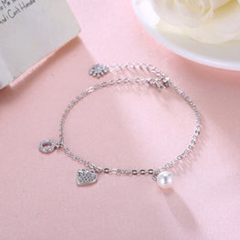 Beautiful Heart Shaped Silver Bracelet