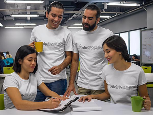 awkward t-shirts team pretending to work on a new design