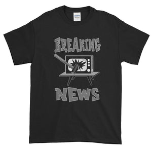 Breaking News TV Sledgehammer T-Shirt-Black-S-Awkward T-Shirts