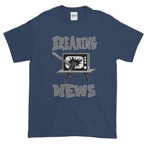 Breaking News TV Sledgehammer T-Shirt-Blue Dusk-S-Awkward T-Shirts