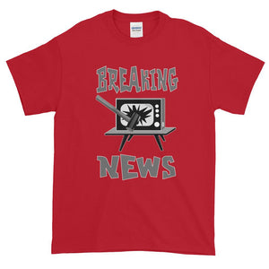 Breaking News TV Sledgehammer T-Shirt-Cherry Red-S-Awkward T-Shirts