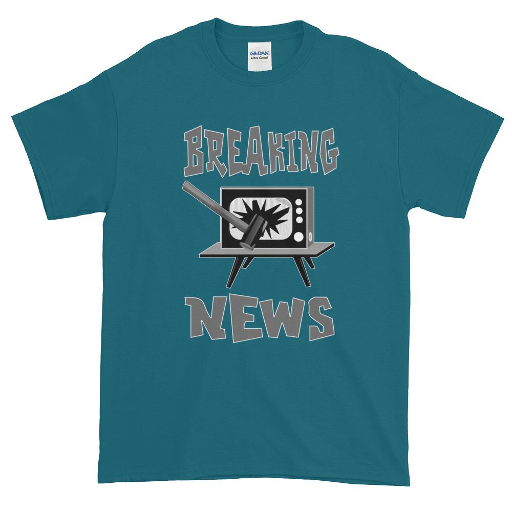 Breaking News TV Sledgehammer T-Shirt-Galapagos Blue-S-Awkward T-Shirts