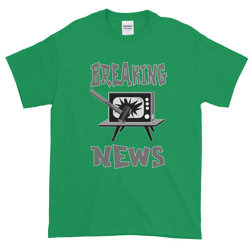 Breaking News TV Sledgehammer T-Shirt-Irish Green-S-Awkward T-Shirts
