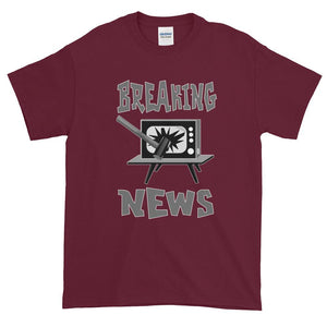 Breaking News TV Sledgehammer T-Shirt-Maroon-S-Awkward T-Shirts