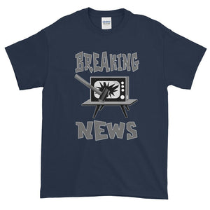Breaking News TV Sledgehammer T-Shirt-Navy-S-Awkward T-Shirts