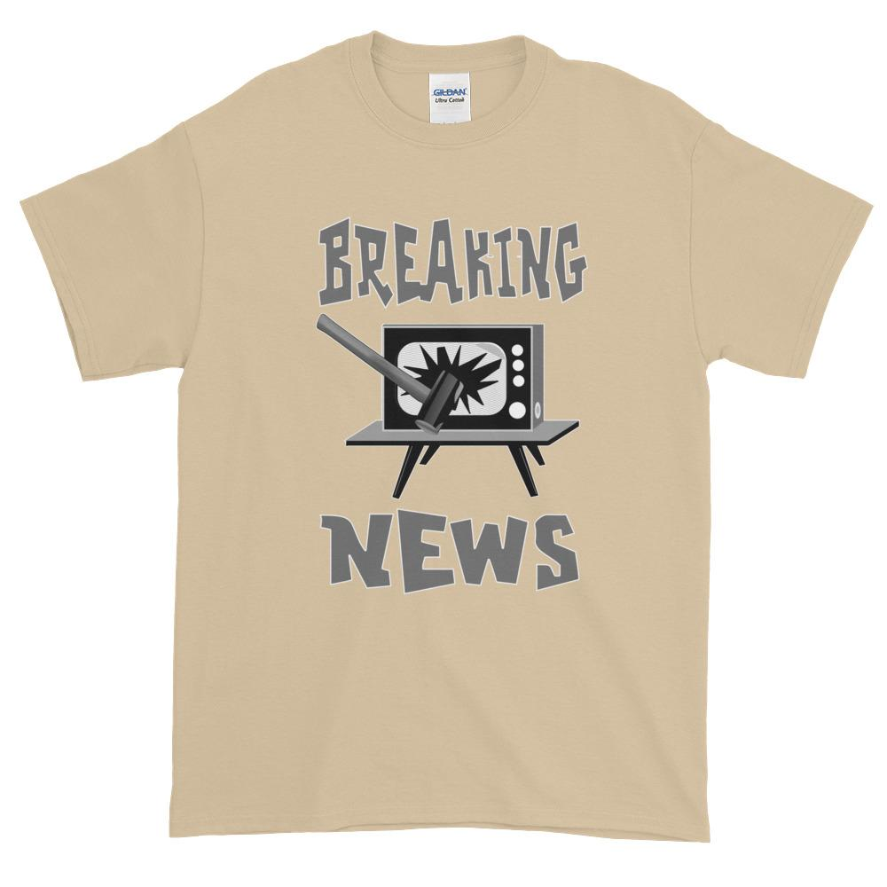 Breaking News TV Sledgehammer T-Shirt-Sand-S-Awkward T-Shirts