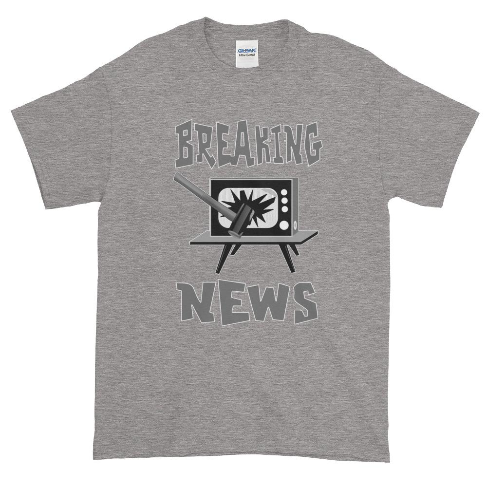 Breaking News TV Sledgehammer T-Shirt-Sport Grey-S-Awkward T-Shirts
